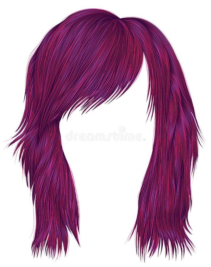 Цвет ультрамодных волос женщины яркий розовый средств длина бобра иллюстрация вектора