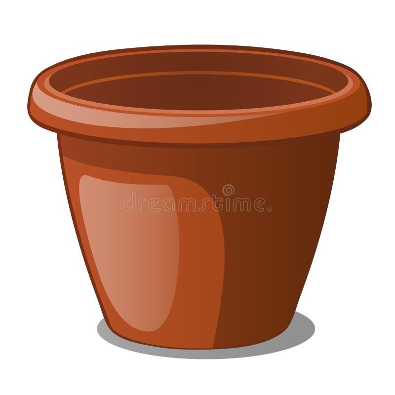 Цвет цветочного горшка коричневый изолированный на белой предпосылке Иллюстрация конца-вверх вектора шаржа иллюстрация штока