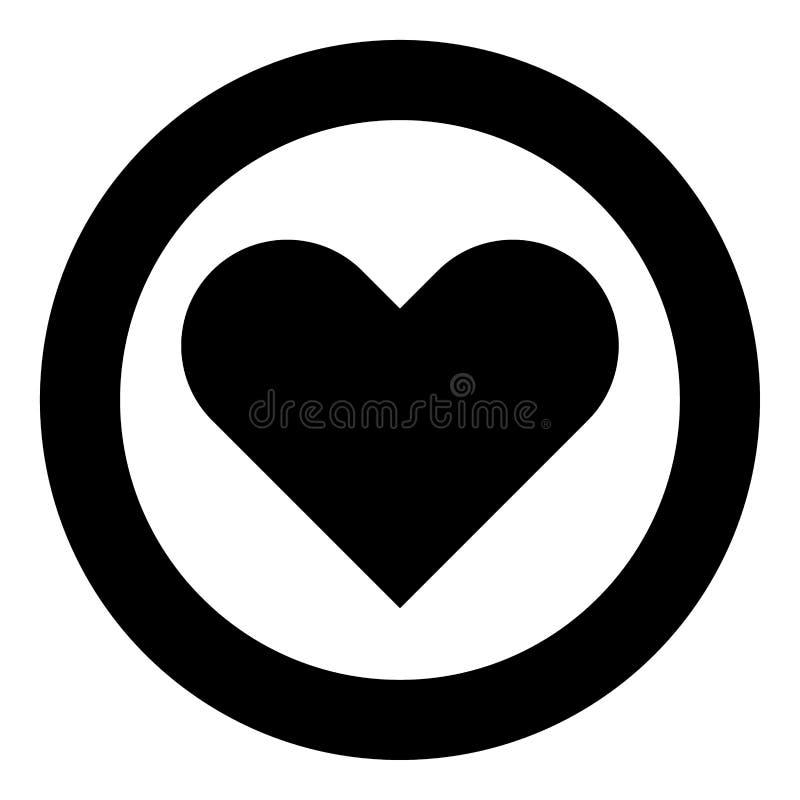 Цвет черноты значка сердца в круге иллюстрация штока