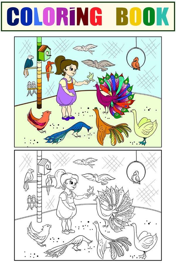 Цвет шаржа детей зоопарк птиц контакта Книжка с картинками птицы Орнитология для девушки Красить, черно-белый иллюстрация вектора