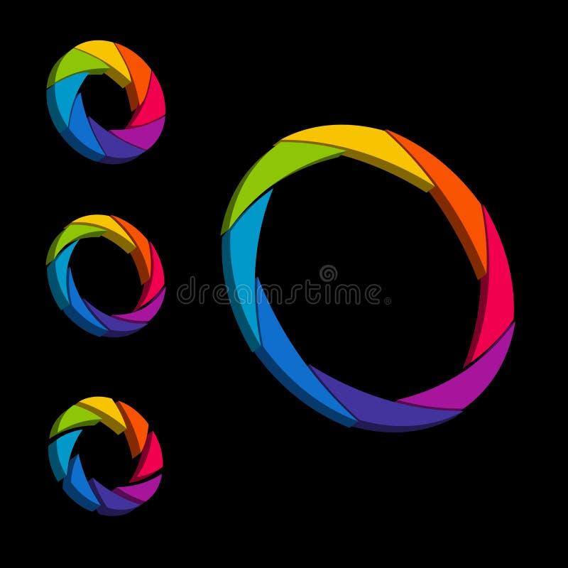 Цвет штарки, апертуры и колесо белизны логос 3d равновелико иллюстрация штока