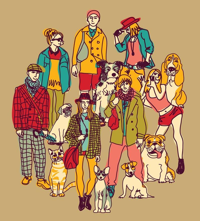 Цвет любимчиков и людей группы иллюстрация вектора