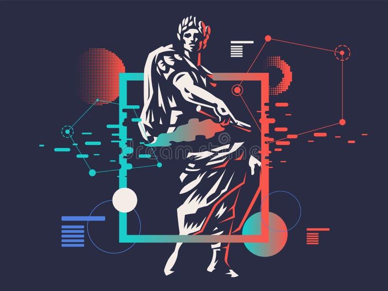 цезарь белизна вектора 8 эмблем изолированная eps иллюстрация штока
