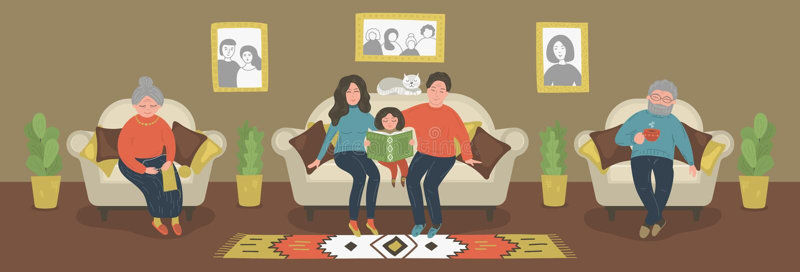 Целая семья совместно иллюстрация вектора