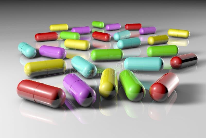 Целебные пилюльки капсулы Аптека фармации антибиотические капсулы Probiotic капсулы Витамин и минеральный комплекс иллюстрация штока