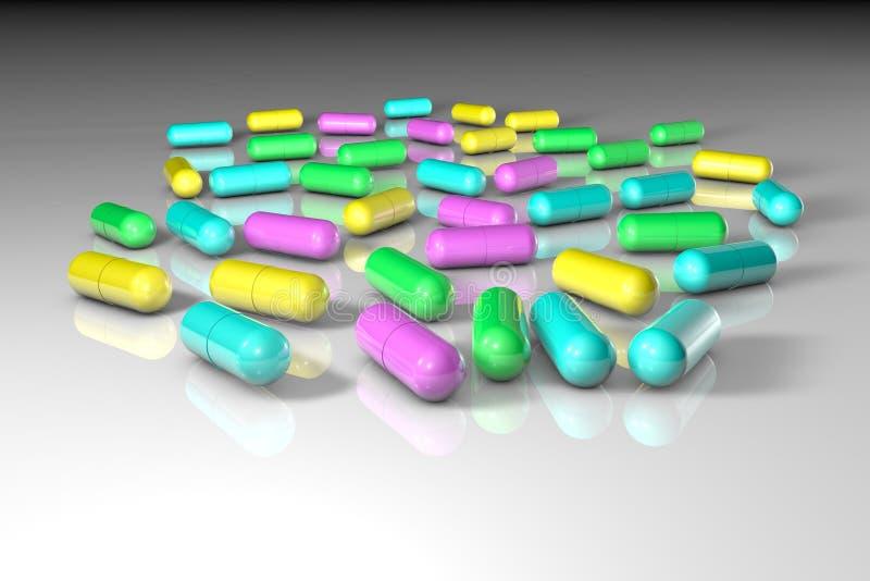 Целебные пилюльки капсулы Аптека фармации антибиотические капсулы Probiotic капсулы Витамин и минеральный комплекс иллюстрация вектора