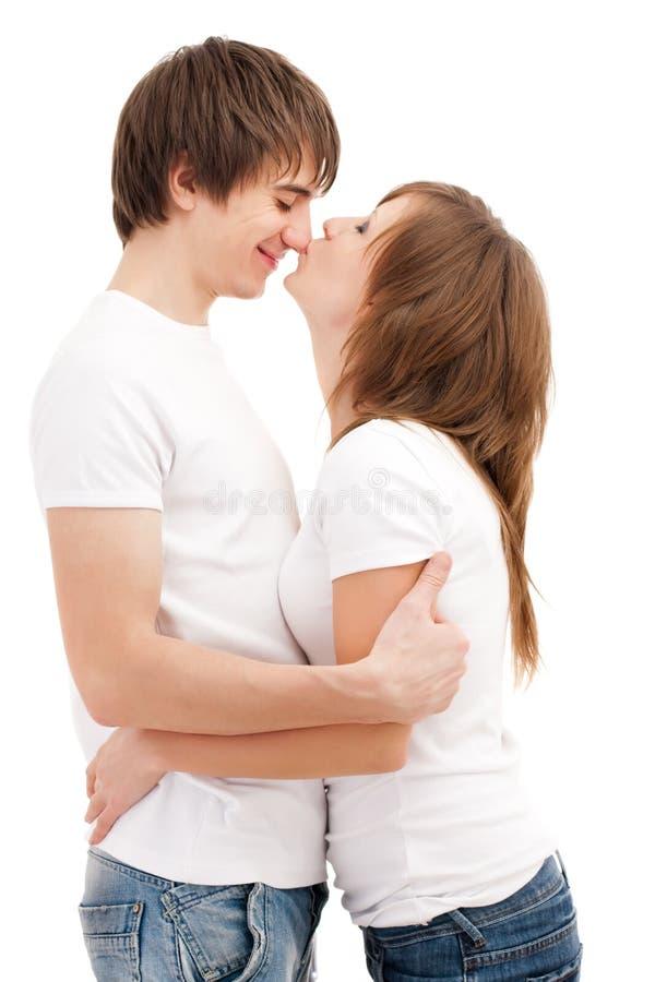 целовать женщину человека стоковые изображения rf