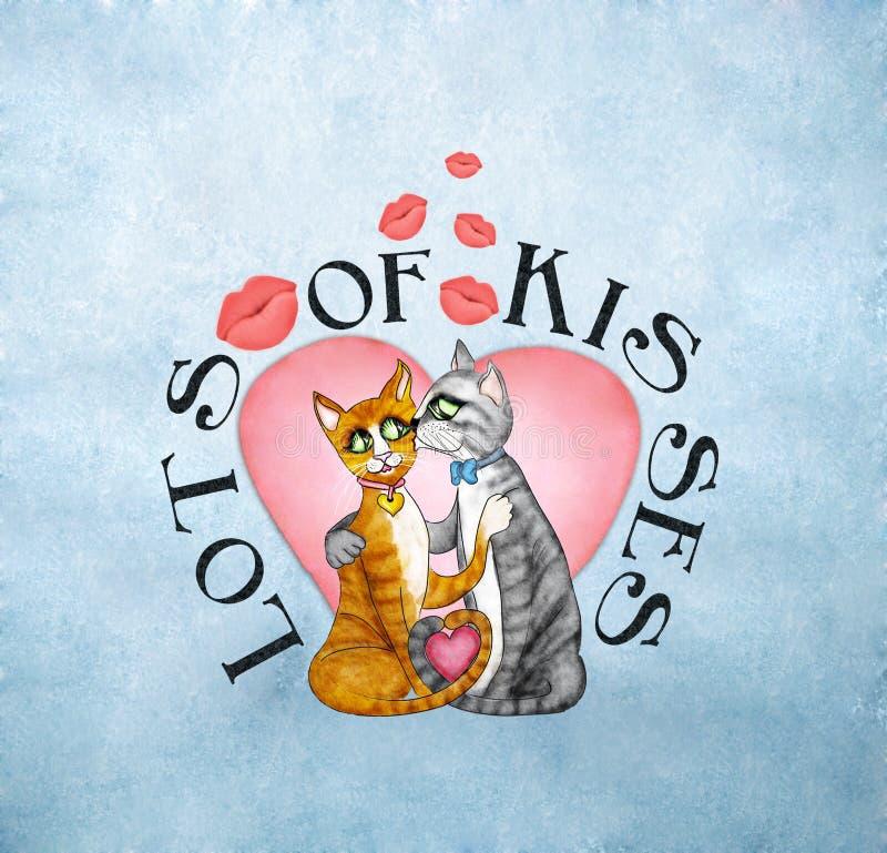 целовать котов иллюстрация вектора