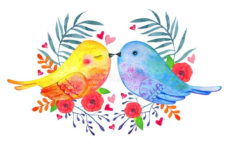 Целовать пар птиц любов с декоративными цветками Иллюстрация акварели нарисованная рукой бесплатная иллюстрация