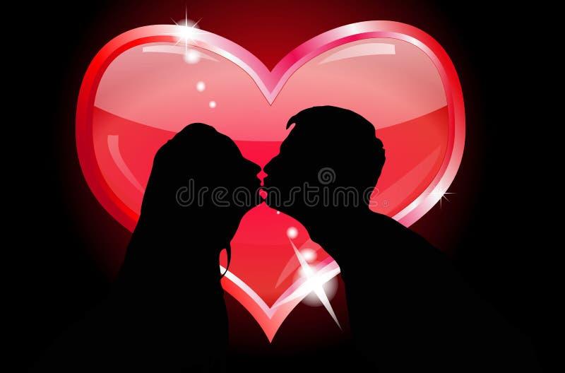 целовать силуэты любовников иллюстрация вектора
