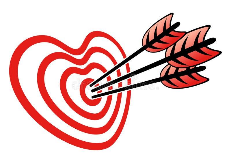 Цель и сердце иллюстрация вектора