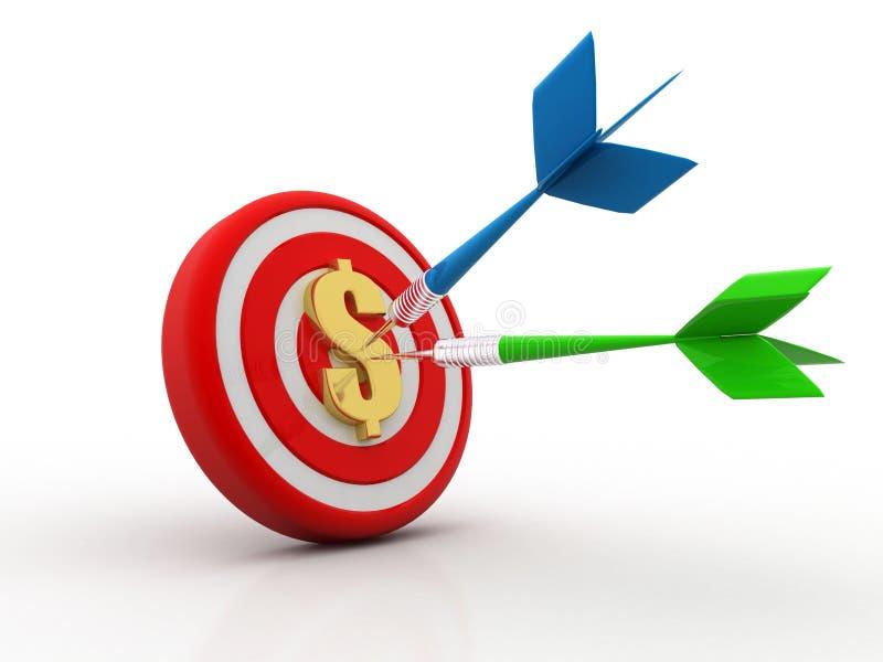 Цель с знаком доллара, концепцией цели дела 3d представляют бесплатная иллюстрация