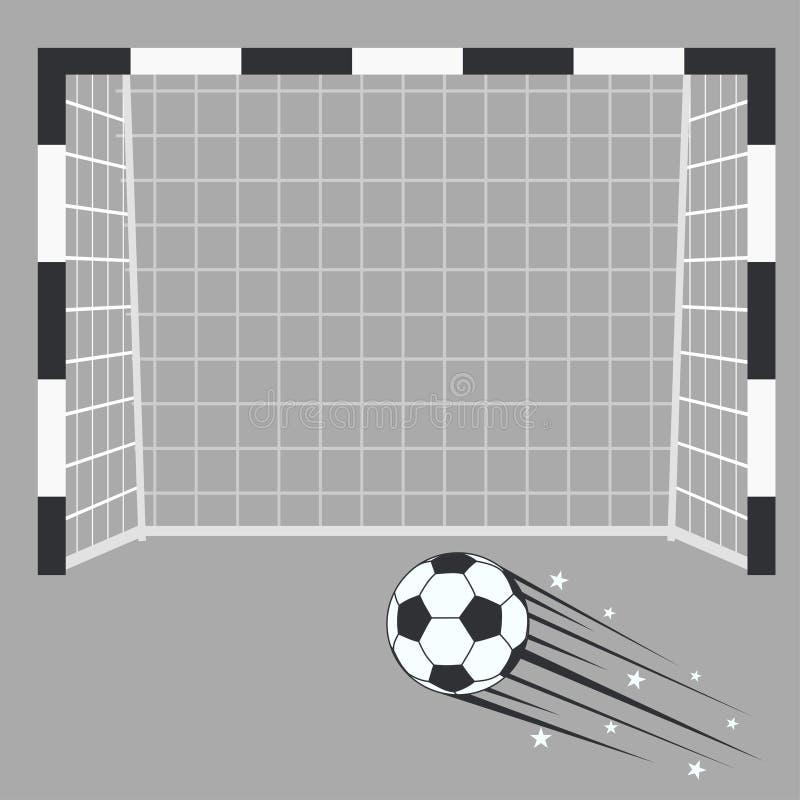 Цель футбола, стойка ворот футбола с сетью на предпосылке стадиона бесплатная иллюстрация