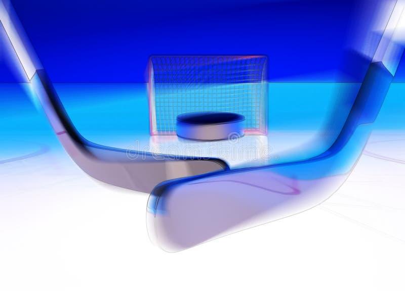 Цель! Цель! Хоккей на льде Шайба летает в цель стоковое изображение