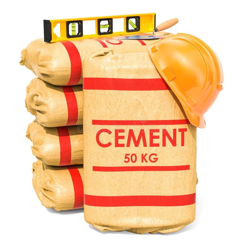 Цементируйте мешки с лопаткой masonry и уровнем духа, переводом 3D иллюстрация штока