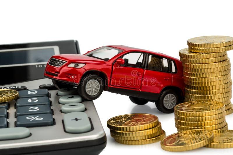 Цена автомобиля. с чалькулятором стоковое фото