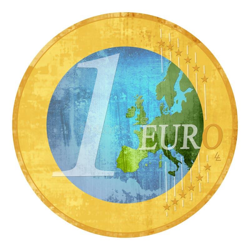 цена евро зеленое иллюстрация вектора