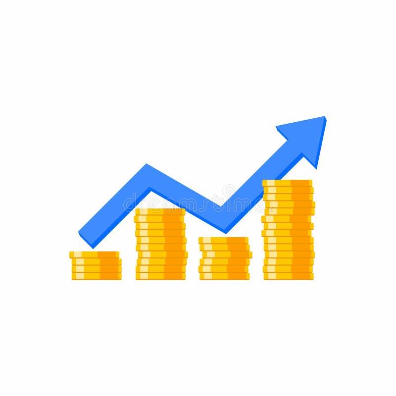 Цена монетки вверх по диаграмме, много монеток, куче денег, отсутствие  иллюстрация вектора