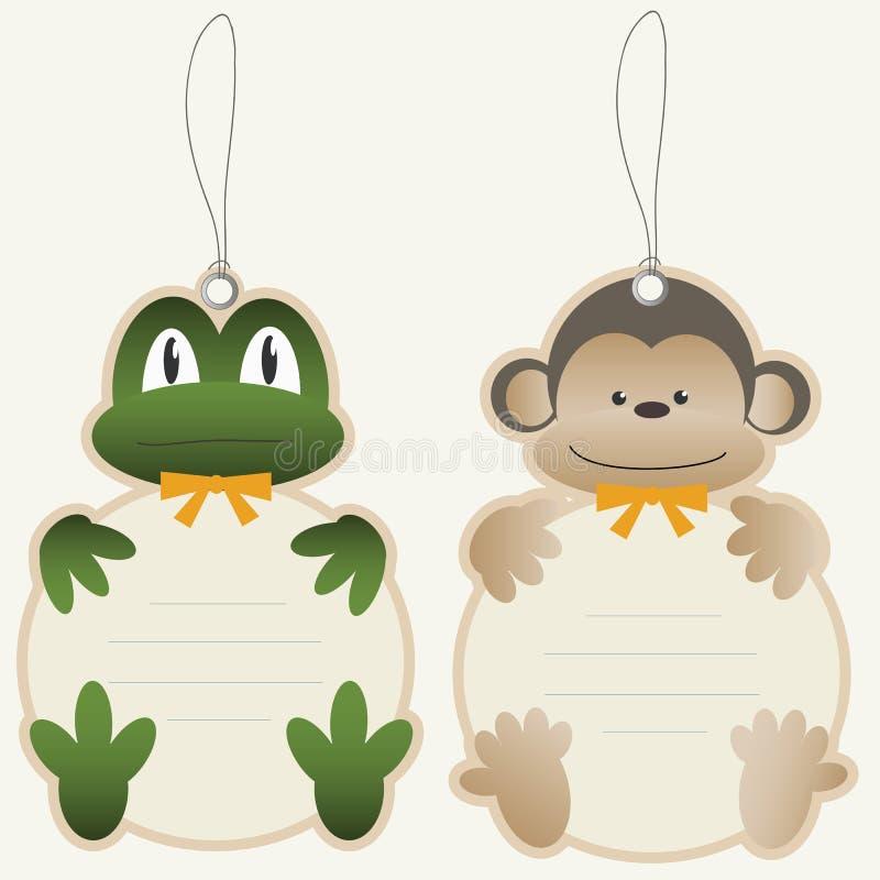 ценники обезьяны лягушки детей иллюстрация штока