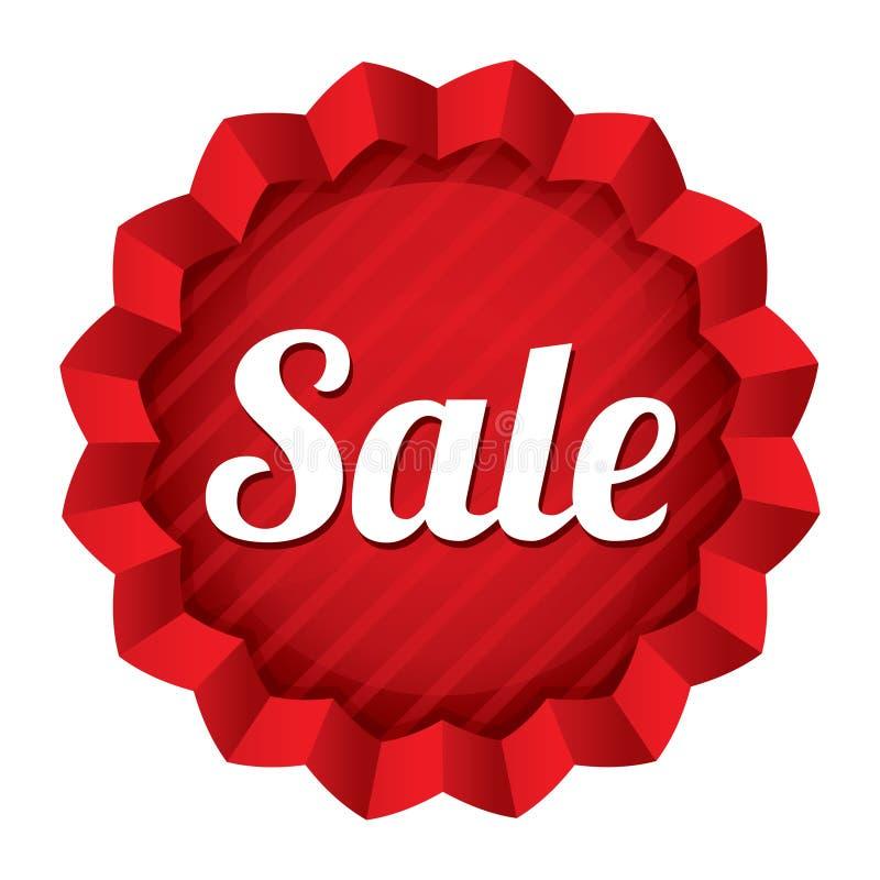 Ценник продажи. Красный круглый стикер звезды. иллюстрация штока
