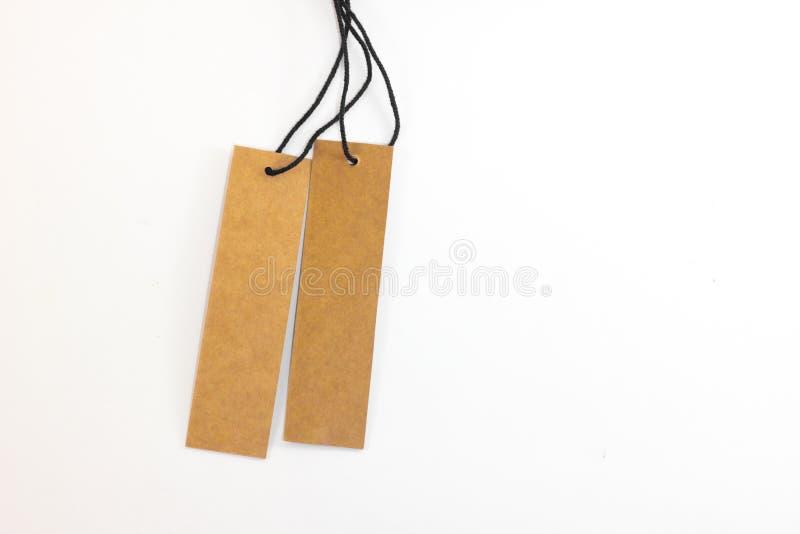 Ценник чистого листа бумаги Брайна стоковое изображение