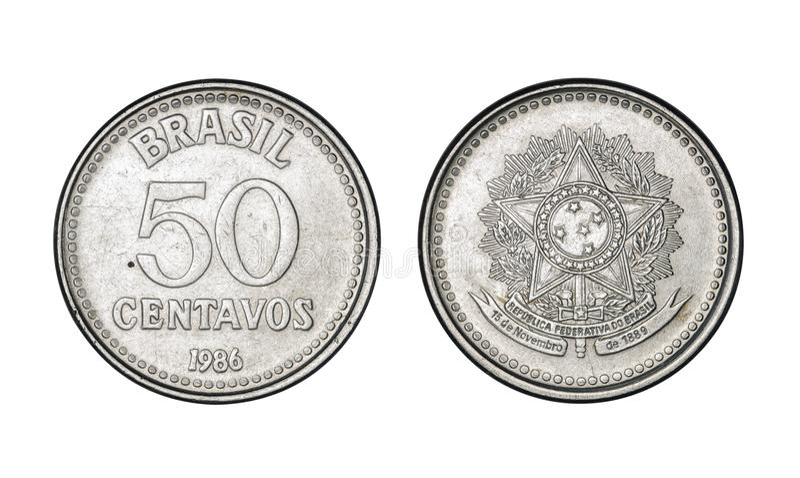 50 центов Cruzado чеканят, год 1986 - старые монетки от Бразилии стоковые изображения rf