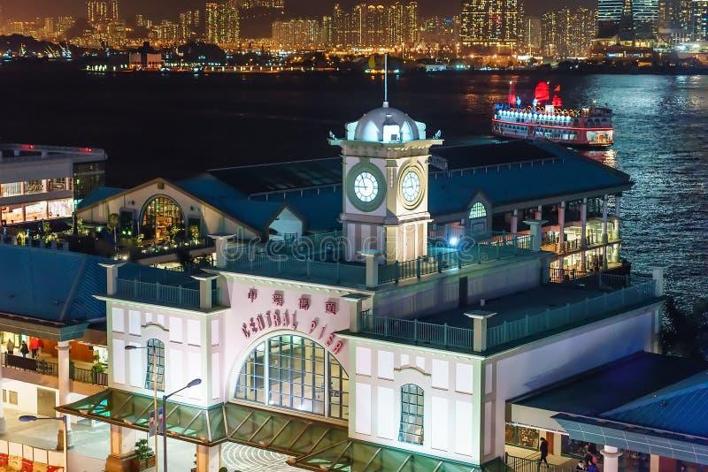 Центральное здание пристани парома на острове Гонконга в Гонконге Городской пейзаж ночи, Hall стоковая фотография