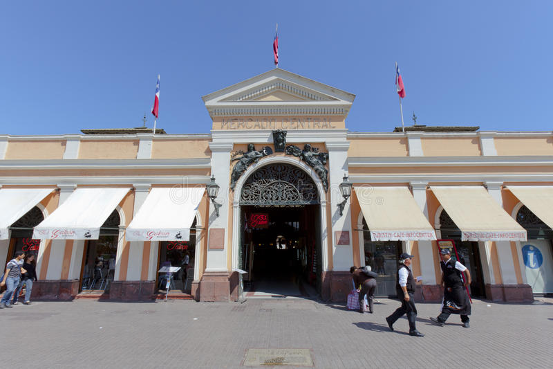 центральное mercado santiago входа стоковое изображение