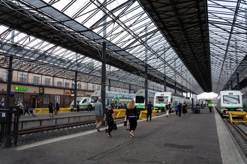 Центральный железнодорожный вокзал Хельсинки, Финляндия стоковые изображения