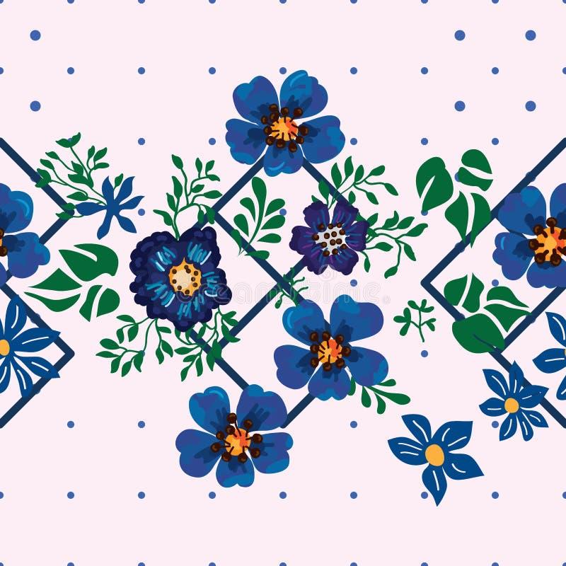 Центра диаманта цветка ветреницы картина голубого безшовная бесплатная иллюстрация
