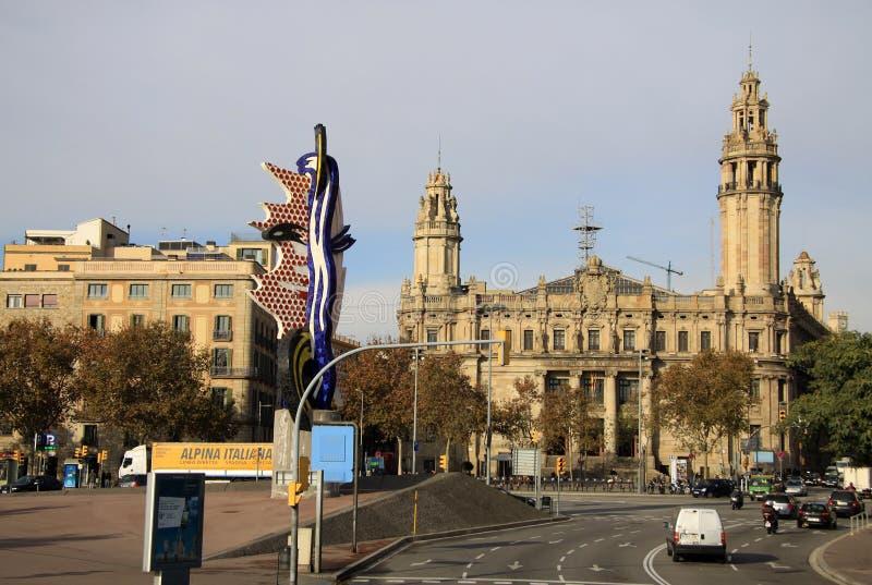 Центральное здание почтового отделения в Барселоне, Каталонии, Испании стоковые изображения