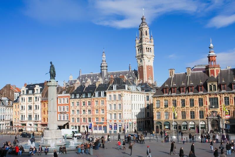 Центральное Место Генерал de Gaulle в Лилле, Франции стоковые фотографии rf