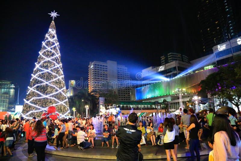 Центральные света города Нового Года мира стоковое фото rf
