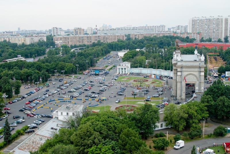 Центральный вход в выставочный центр, Москву стоковое изображение rf