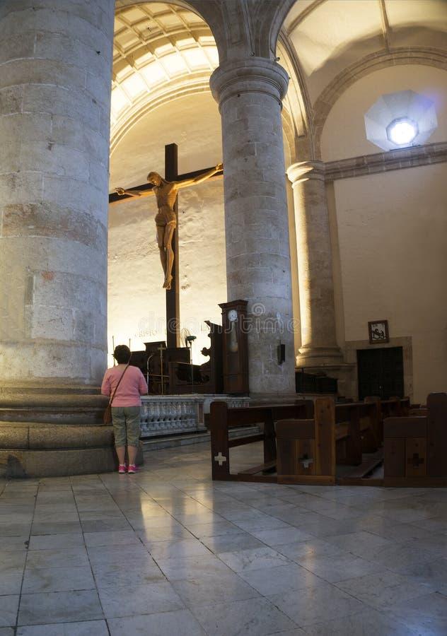 Центральный интерьер собора, Мерида, Юкатан Мексика стоковые изображения rf