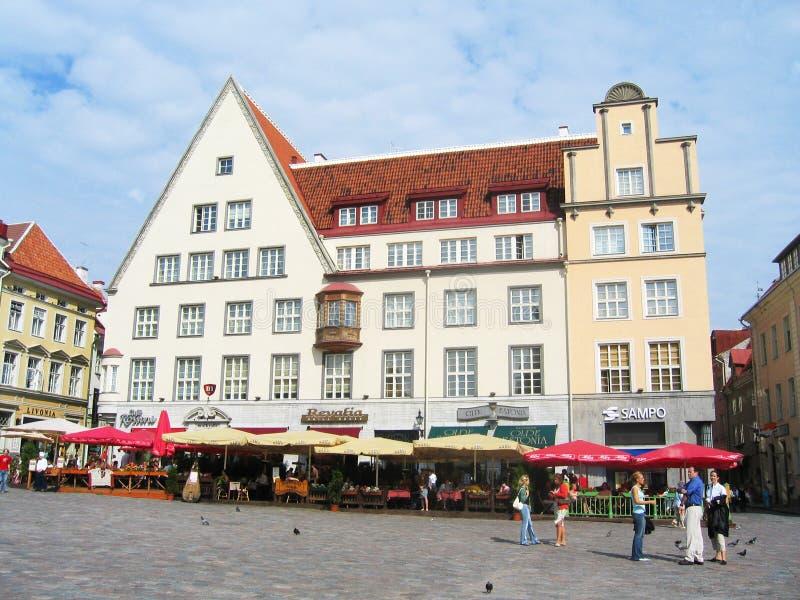 Центральный квадрат ратуши в Таллине, Эстонии стоковые фото