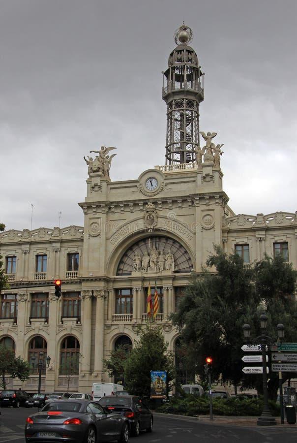 Центральный фасад почтового отделения (Edificio de Correos y Telegrafos), Валенсия, Испания стоковые фото