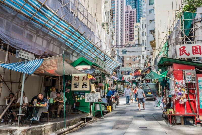 Централь Гонконг Soho ресторана улицы людей стоковая фотография rf
