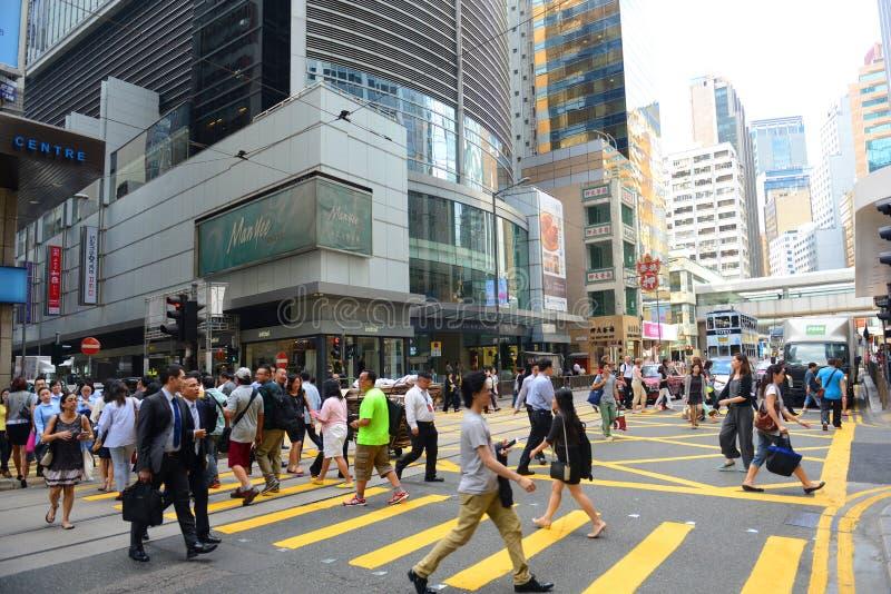 Централь дороги Des Voeux Гонконга стоковое изображение
