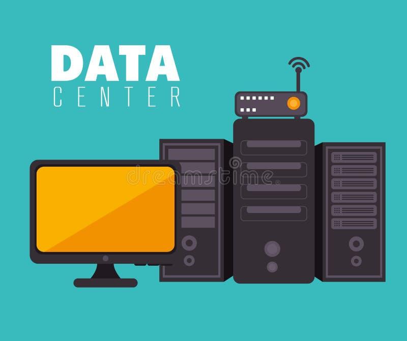 Центр данных и хостинг иллюстрация штока