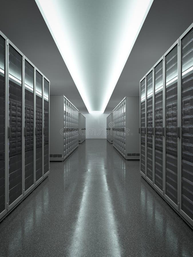 Центр данных с длинной строкой серверов иллюстрация вектора