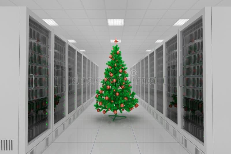 Центр данных с рождественской елкой иллюстрация вектора