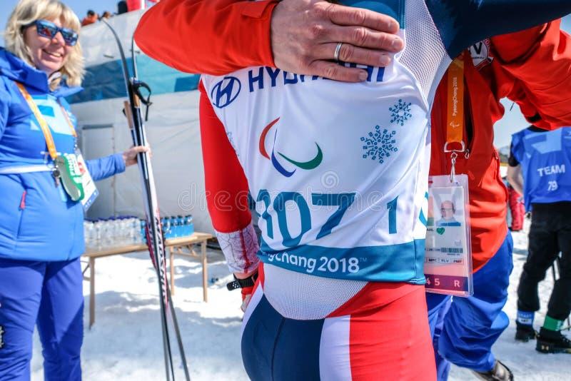 Центр биатлона Pyeongchang 2018 14-ое марта - в вездеходном s стоковое фото rf