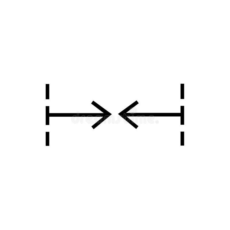 Центр выравнивает знак вектора значка и символ изолированный на белой предпосылке, центризует для того чтобы выровнять концепцию  иллюстрация вектора
