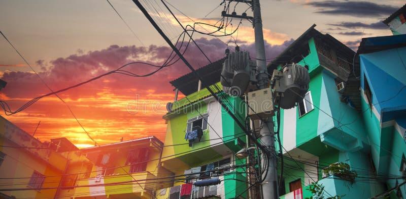 Центр города и favela Рио-де-Жанейро стоковое изображение rf