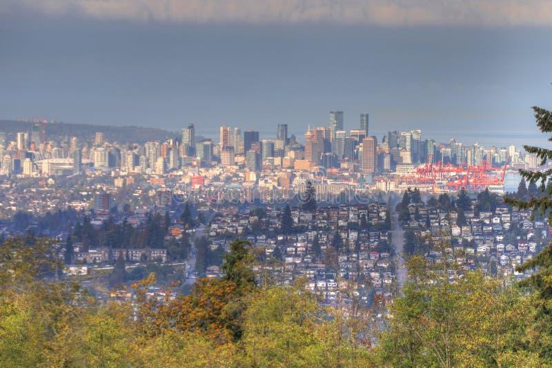 Центр города увиденный от Burnaby, Британская Колумбия Ванкувера стоковая фотография rf