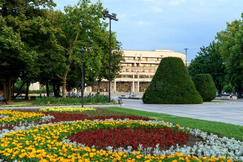 Центр города уловки на заходе солнца, Болгария стоковое изображение