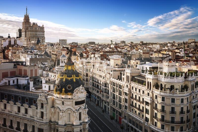 Центр города Мадрида, Vis Испания Gran стоковые фото