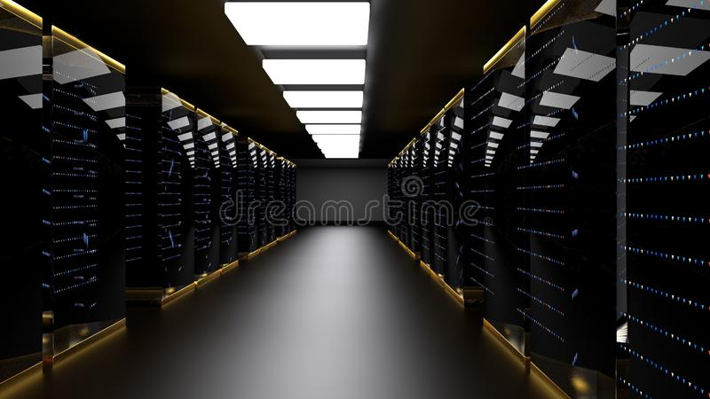 Центр данных комнаты сервера перевод 3d стоковые изображения