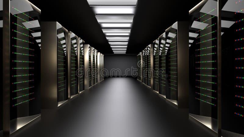 Центр данных комнаты сервера перевод 3d стоковые изображения rf